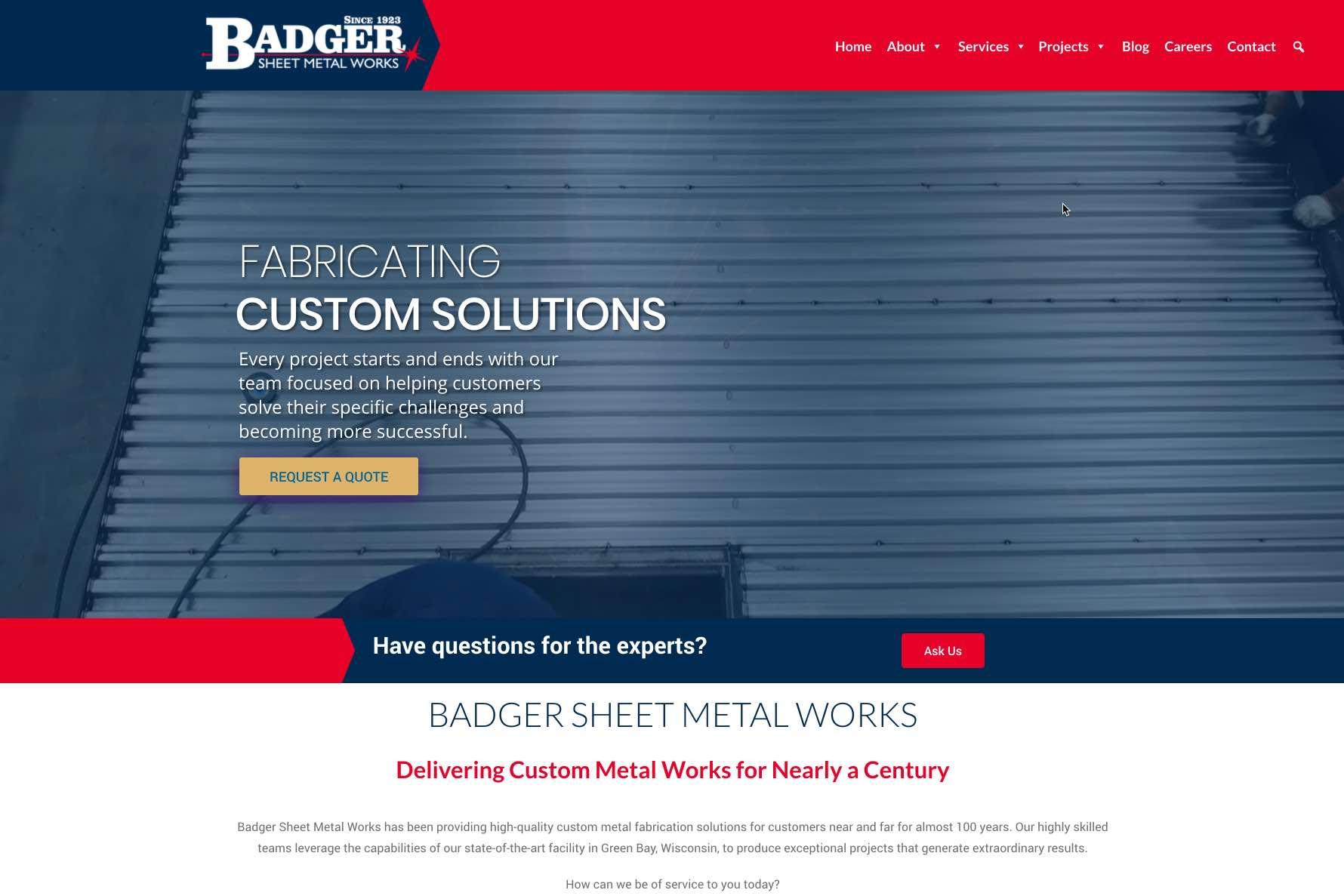Badger Sheet Metal Works website update focuses on capabilities